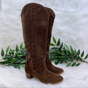 Zara Brown Suede Heeled Tall Riding Boot 39
